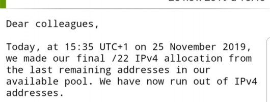 【里程碑】全球IPv4地址正式耗尽 便于IPv6开始普及